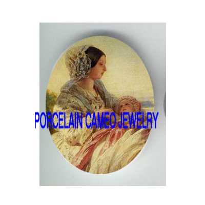 QUEEN VICTORIA HOLDING HER BABY* UNSET PORCELAIN CAMEO CAB