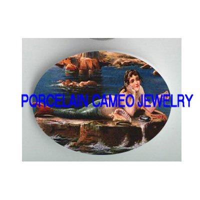 VICTORIAN JEWELED MERMAID SEASHELL * UNSET PORCELAIN CAMEO CAB