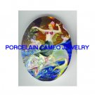 VICTORIAN ROSE MERMAID RIDING FLYING FISH* UNSET PORCELAIN CAMEO CAB