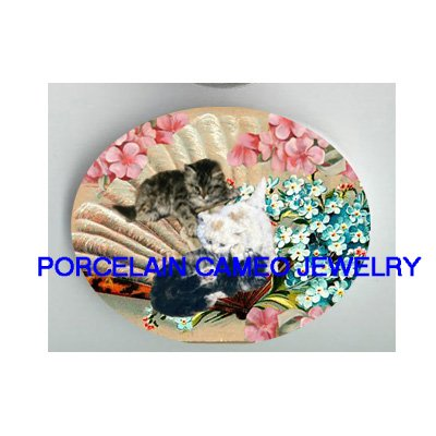 VICTORIAN KITTY CAT FORGET ME NOT FAN * UNSET PORCELAIN CAMEO CAB