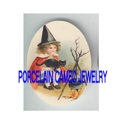 VICTORIAN WITCH HAT GIRL BLACK CAT COOKING * UNSET PORCELAIN CAMEO CAB