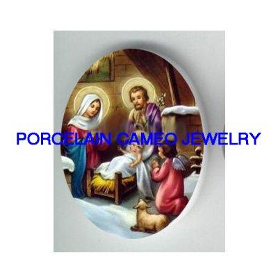 VICTORIAN CHRISTMAS NATIVITY MANGER ANGEL* UNSET PORCELAIN CAMEO CAB