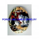 VICTORIAN KITTY CAT FAMILY TREASURE BOX* UNSET PORCELAIN CAMEO CAB