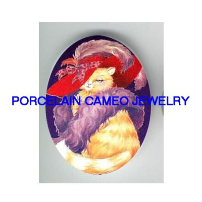 YELLOW TABBY RED HAT CAT SOCIETY * UNSET PORCELAIN CAMEO CAB