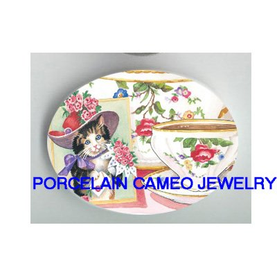 VICTORIAN RED HAT CAT SOCIETY TEA TIME * UNSET PORCELAIN CAMEO CAB