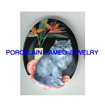 GREY PERSIAN CAT BIRD PARADISE * UNSET PORCELAIN CAMEO CAB