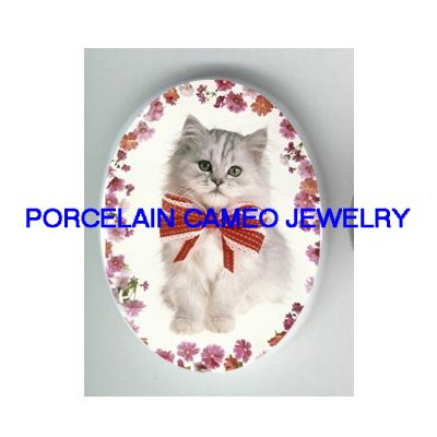 PERSIAN KITTY CAT PINK DAISY * UNSET PORCELAIN CAMEO CAB