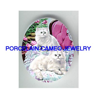 2 PERSIAN KITTY CAT ROSE * UNSET PORCELAIN CAMEO CAB