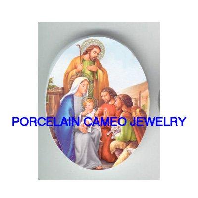 VICTORIAN CHRISTMAS NATIVITY MANGER  UNSET PORCELAIN CAMEO CAB