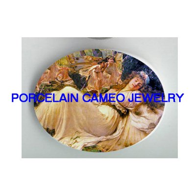 VICTORIAN SLEEPING BEAUTY WITH FAIRY* UNSET PORCELAIN CAMEO CAB