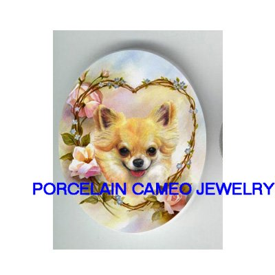 LONG HAIR CHIHUAHUA DOG ROSE HEART * UNSET PORCELAIN CAMEO CAB
