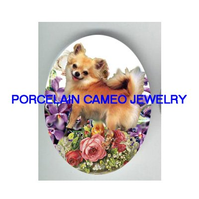 LONG HAIR CHIHUAHUA DOG ROSE VIOLET * UNSET PORCELAIN CAMEO CAB