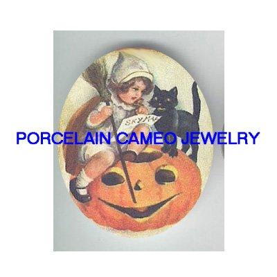 VICTORIAN GIRL TEACH BLACK CAT SPELL HALLOWEEN* UNSET PORCELAIN CAMEO CAB