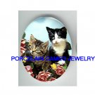 2 KITTY CAT ROSE BUTTERFLY* UNSET PORCELAIN CAMEO CAB
