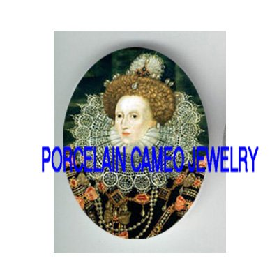 JEWELED QUEEN ELIZABETH UNSET CAMEO PORCELAIN CAB 30X40