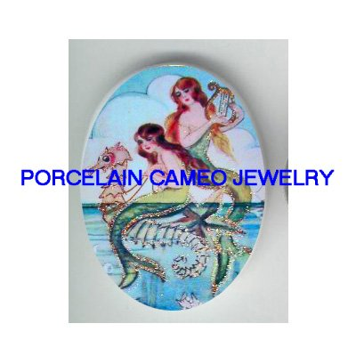 2 VICTORIAN MERMAID PLAY HARP RIDE SEAHORSE * UNSET PORCELAIN CAMEO CAB