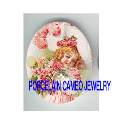 VICTORIAN ROSE GIRL KITTY CAT * UNSET CAMEO PORCELAIN CAB