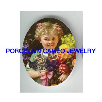 VICTORIAN GIRL  HYDRANGEA KITTY CAT * UNSET CAMEO PORCELAIN CAB