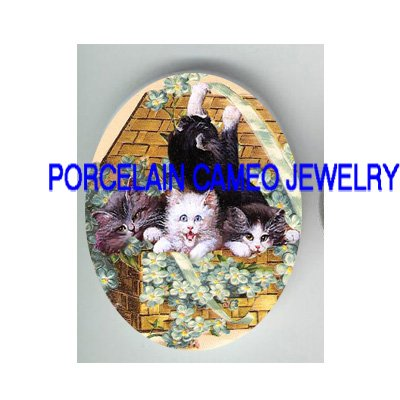 4 VICTORIAN KITTY CAT FORGE ME NOT RIBBON * UNSET PORCELAIN CAMEO CAB