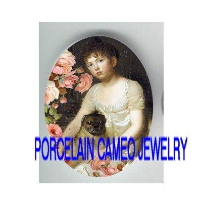 VICTORIAN GIRL HOLD PUG DOG ROSE * UNSET PORCELAIN CAMEO CAB