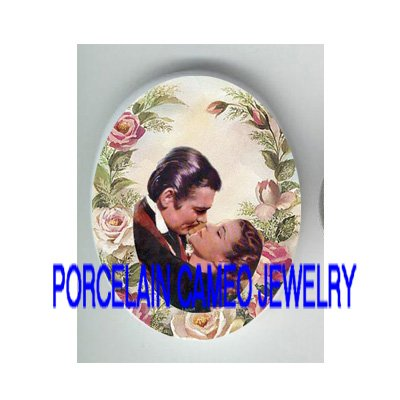 GONE WITH THE WIND KISSING ROSE  * UNSET PORCELAIN CAMEO CAB