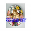 3 VICTORIAN KITTY CAT COLORFUL ROSE* UNSET PORCELAIN CAMEO CAB
