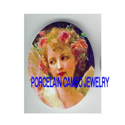 VICTORIAN ROSE ANGEL GIRL* UNSET PORCELAIN CAMEO CAB