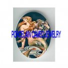 ART NOUVEAU MERMAID PLAY ROSE HARP PORCELAIN CAMEO CAB