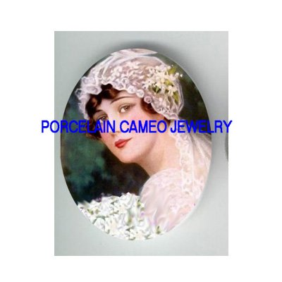 VINTAGE BRIDE WITH ROSE * UNSET PORCELAIN CAMEO CAB