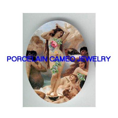 BIRTH OF VENUS ANGEL CHERUB ROSE* UNSET PORCELAIN CAMEO CAB
