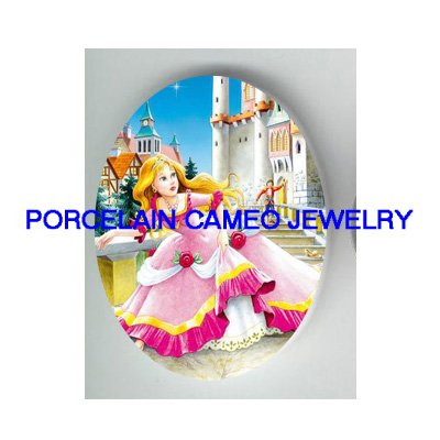 VICTORIAN CINDERELLA WITH PRINCE* UNSET PORCELAIN CAMEO CAB
