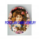 VICTORIAN ROSE LADY WITH KITTY CAT * UNSET PORCELAIN CAMEO CAB