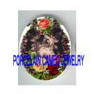 4 VICTORIAN KITTY CAT ROSE VIOLET * UNSET PORCELAIN CAMEO CAB