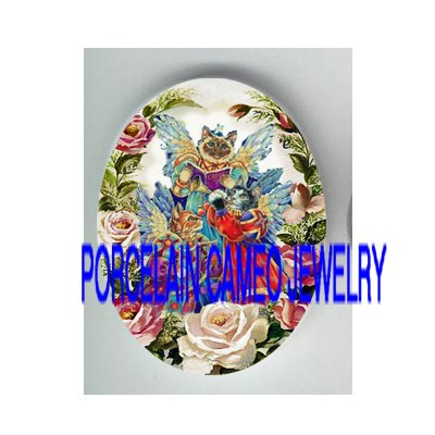 3 SINGING ANGEL CAT ROSE * UNSET PORCELAIN CAMEO CAB