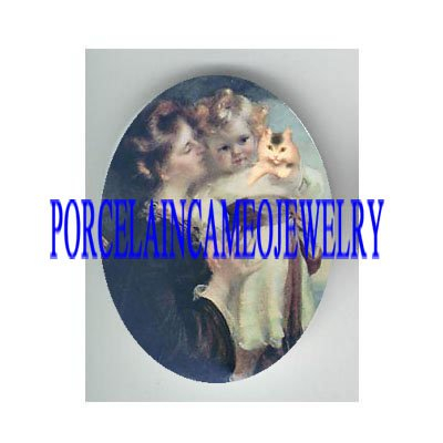VICTORIAN MOTHER KISSING DAUGHTER KITTY CAT * UNSET PORCELAIN CAMEO CAB