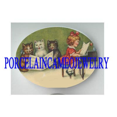 VICTORIAN GIRL PIANO 3 SING KITTY CAT * UNSET PORCELAIN CAMEO CAB