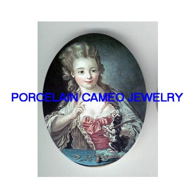 VICTORIAN LADY TRAIN PUPPY DOG* UNSET PORCELAIN CAMEO CAB