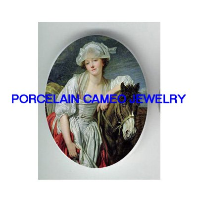 VICTORIAN LADY WITH STALLION HORSE* UNSET PORCELAIN CAMEO CAB