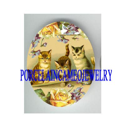 3 VICTORIAN  KITTY CAT PLAY SEESAW VIOLET ROSE * UNSET CAMEO PORCELAIN CAB