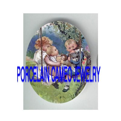 3 VICTORIAN BROTHER AND SISTER SWING KITTY CAT* UNSET PORCELAIN CAMEO CAB