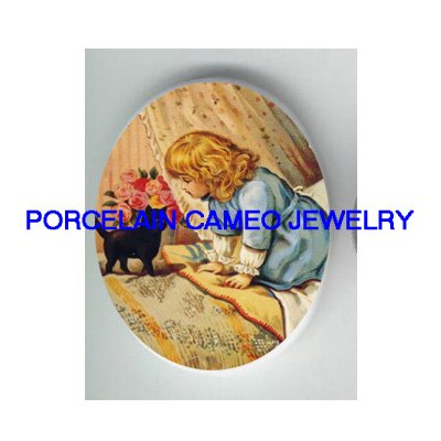 VICTORIAN GIRL IN BED WITH BLACK KITTY CAT* UNSET PORCELAIN CAMEO CAB