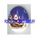 CHRISTMAS SANTA CAT ON SLEIGHT CAMEO PORCELAIN CAB