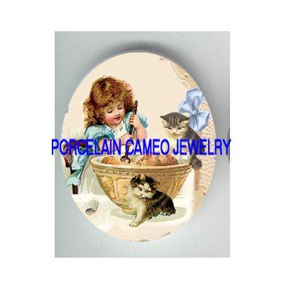 VICTORIAN GIRL 2 KITTY CAT HELP BAKING PORCELAIN CAMEO