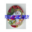 CROWN QUEEN KITTY CAT FLOWER PILLOW   * UNSET PORCELAIN CAMEO CAB