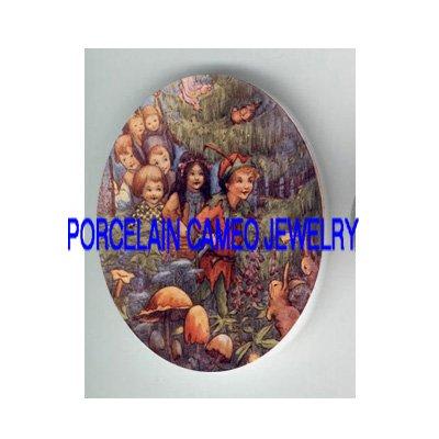 VICTORIAN PETER PAN CHILDREN RABBIT  * UNSET PORCELAIN CAMEO CAB