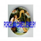 VICTORIAN ANGEL PLAY HARP CHERUB SINGING* UNSET PORCELAIN CAMEO CAB