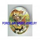 4 PLAYFUL KITTY CAT FLOWER GADREN   * UNSET PORCELAIN CAMEO CAB