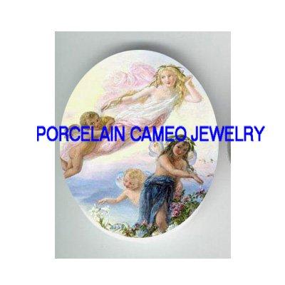 VICTORIAN FAIRY GODDESS ANGEL CHERUB* UNSET PORCELAIN CAMEO CAB
