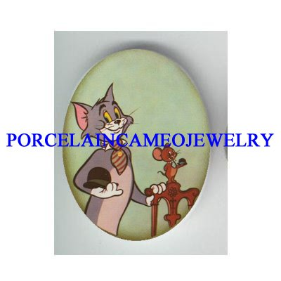 TOM AND JERRY CAT AND MOUSE  * UNSET PORCELAIN CAMEO CAB