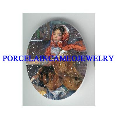 VICTORIAN LITTLE MATCH GIRL  * UNSET PORCELAIN CAMEO CAB